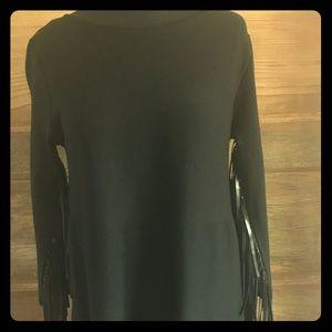 Shift dress with fringe sleeves